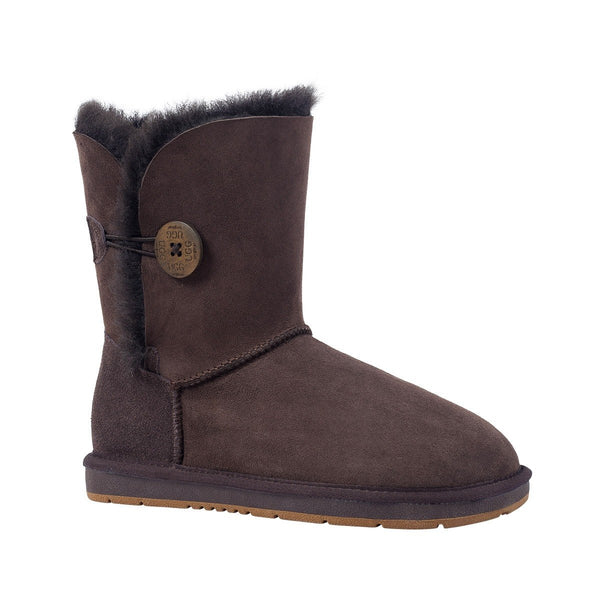UGGS Single Button Short Sheepskin Cedar Unisex Chocolate