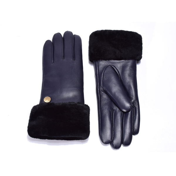 UGG Australian Sheepskin Leather Gloves Navy Womens (Chloe)