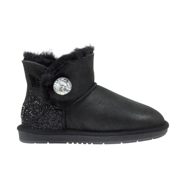 UGG Boots Women's Nappa Mini Crystal Button Sheepskin Black