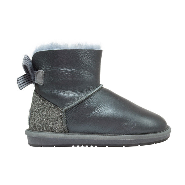 UGG Boots Women's Nappa Mini Ribbon Sheepskin Grey
