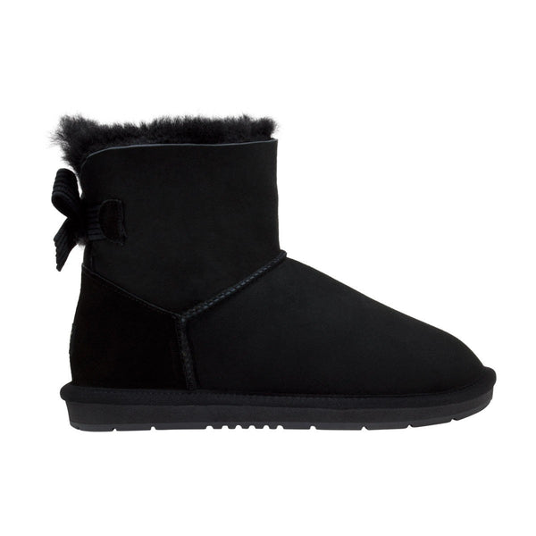 UGG Boots Women's Mini Ribbon Australian Sheepskin Black