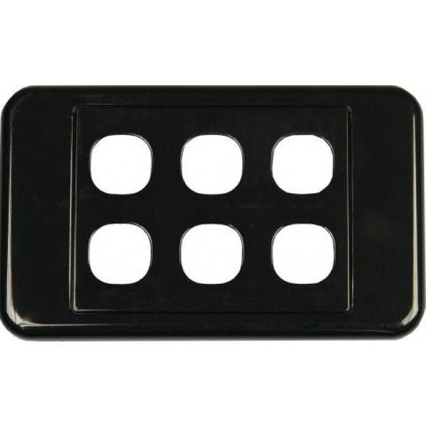 6 Way Australian Style Wall Plate Black