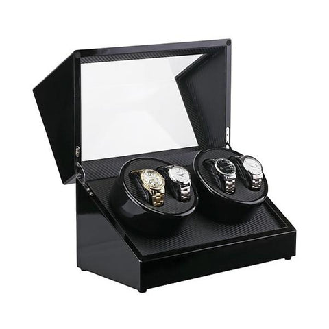 Automatic Quad Watch Winder Wood Display Box Motor Rotation Storage