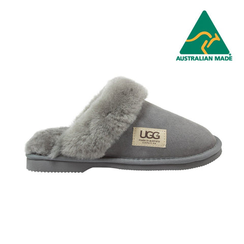 UGG Merino Sheepskin Fur Trim Scuff Memory Foam Grey