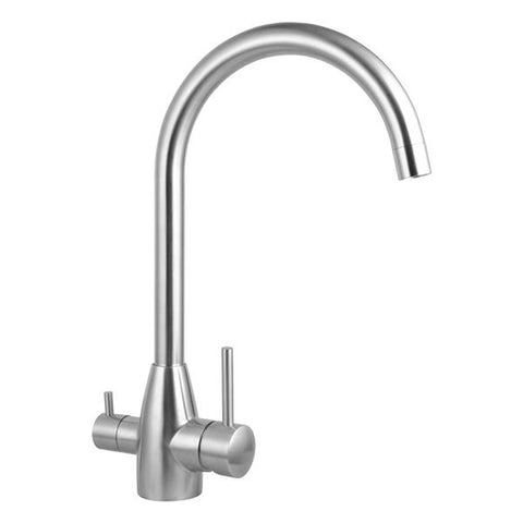 Round Brushed 3 Ways Kitchen Sink Mixer Tap 360 Degree Swivel