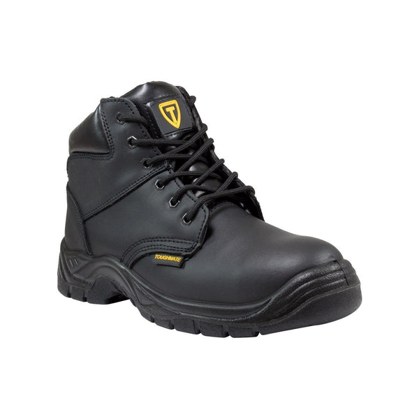 TOUGH MATE Lace-Up Steel Cap Leather Work Boots – Black Smooth