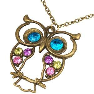 Vintage Colourful Owl Necklace