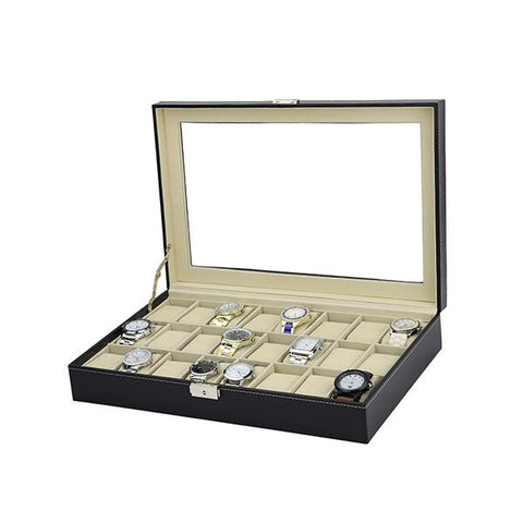 Watch Box 24 Slot Luxury Display Case With Framed Glass Lid