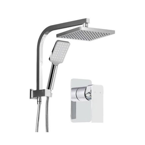 Wels Square 8 Inch Rain Shower Head Handheld Spray Bracket Rail Chrome
