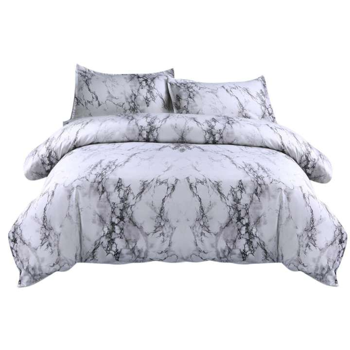 White Reversible Marble Texture Quilt Cover Set - Propstation