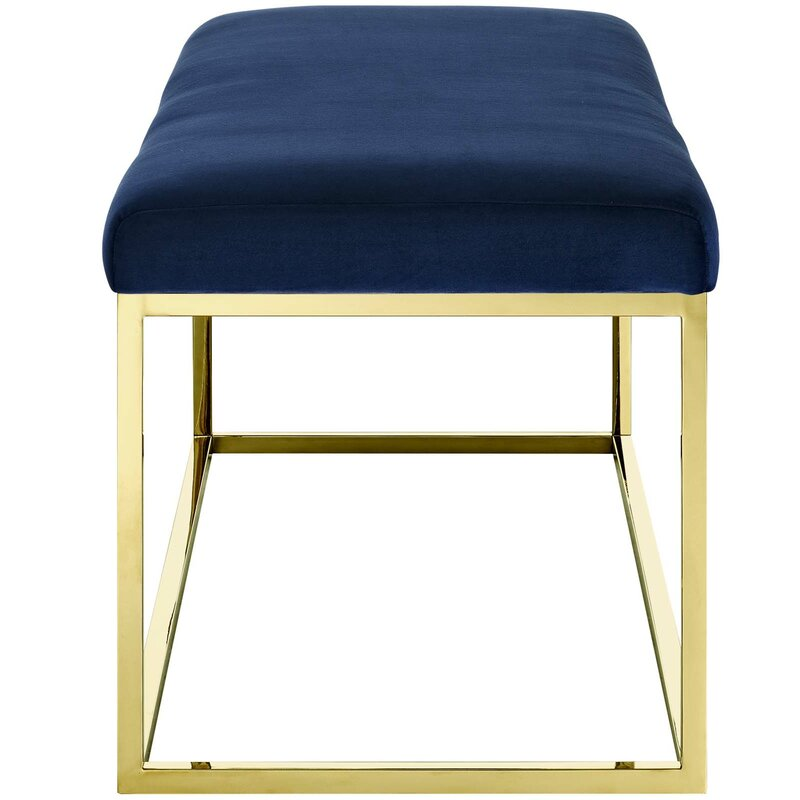 Opal Upholstered Velvet Blue In Gold Box Frame Bench