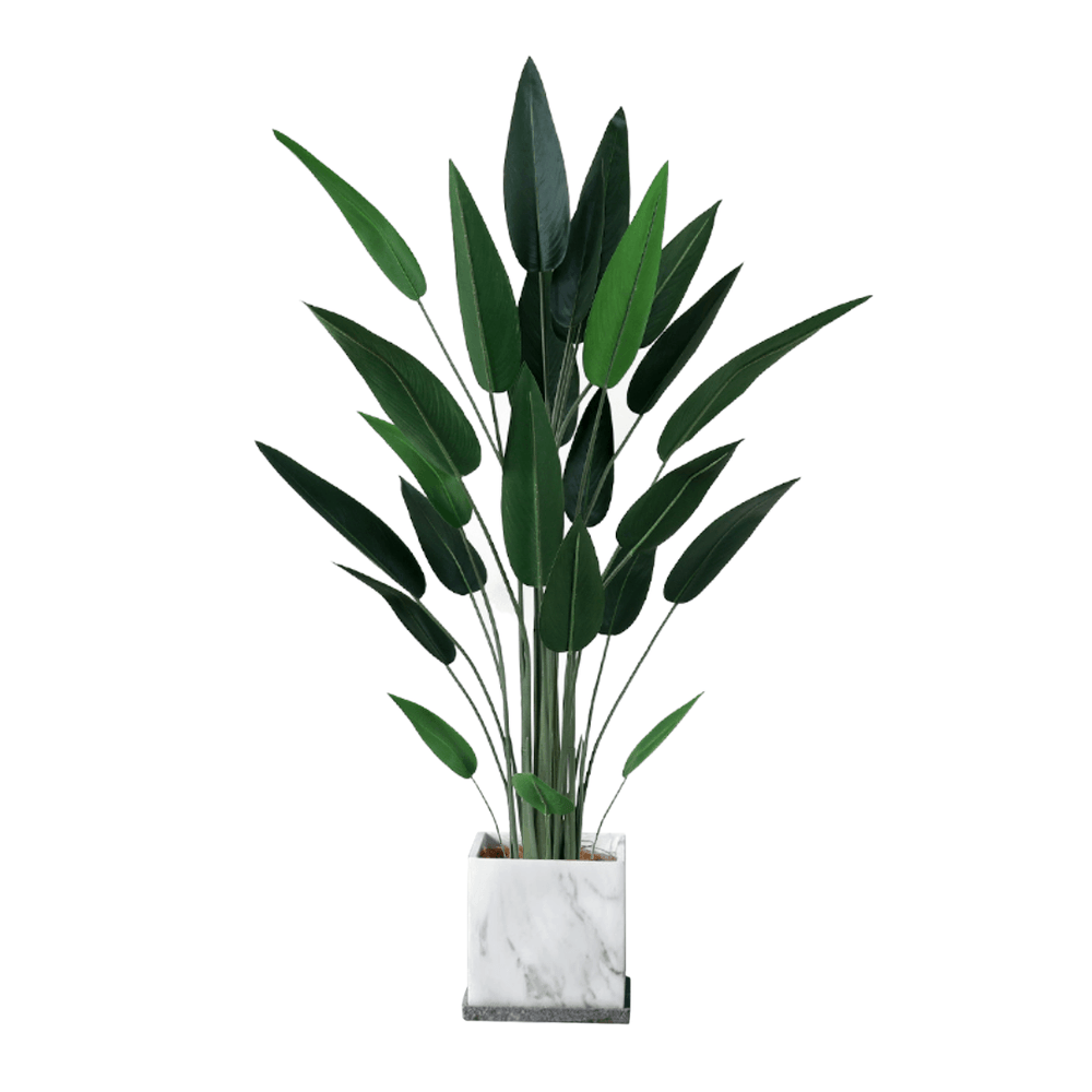 Potted Faux Bird of Paradise Traveller Tree 160cm with Grey Marble Planter Pot - Propstation