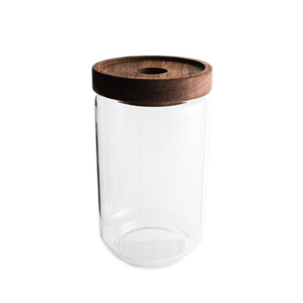 Rustic Cottage Airtight Wooden Lid Glass Jar 750ml - Propstation