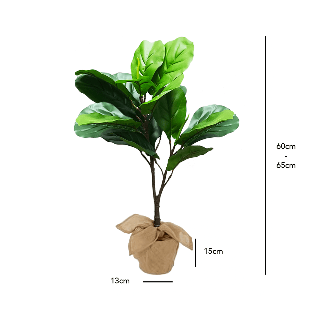 Realistic Fiddle Leaf Fig Potted Faux Plant 65cm