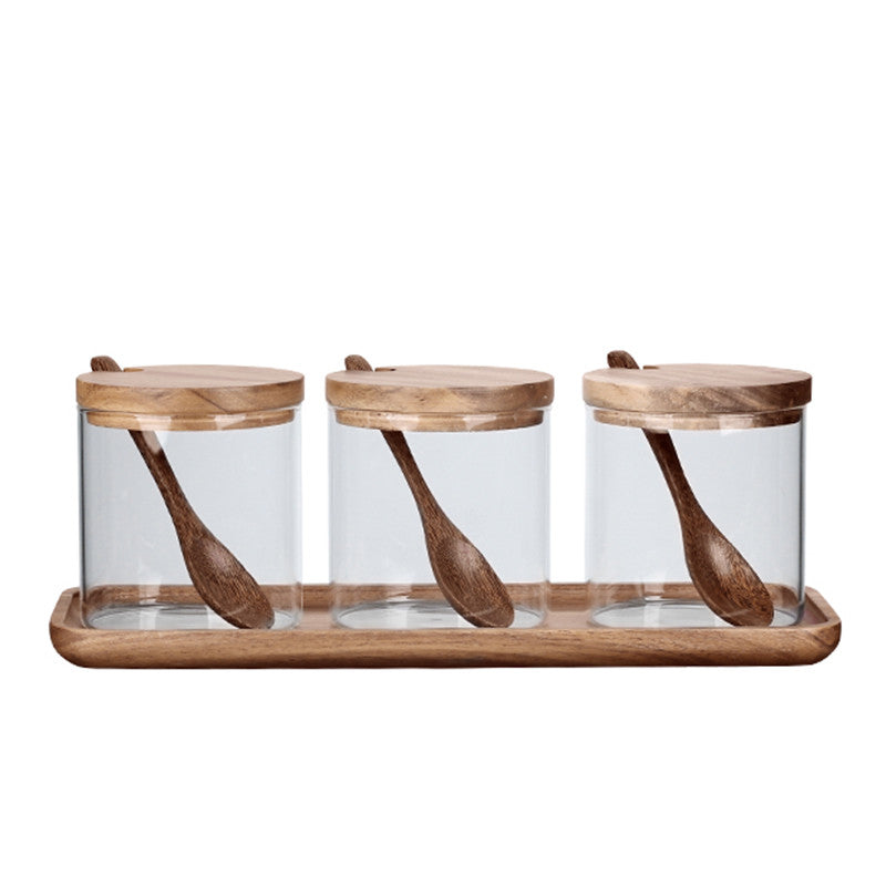 Bamboo Wooden Lid Glass Canister Set of 3 - Propstation