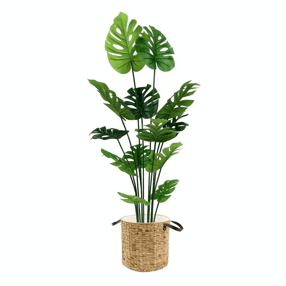 Realistic Monstera Deliciosa Potted Faux Plant in Oversized Natural Basket 150cm