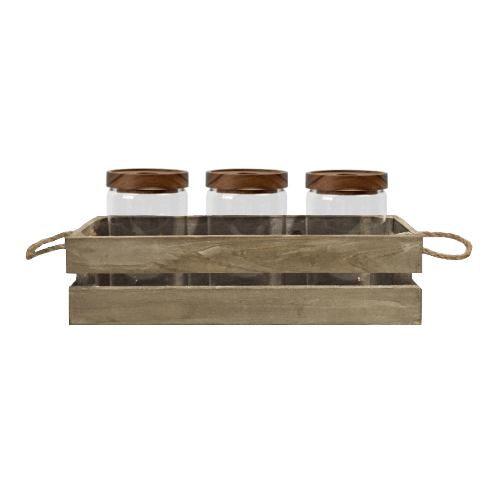 Rustic Raya Airtight Acacia Wooden Lid Glass Jar in Crate 750ml - Set of 3 - Propstation
