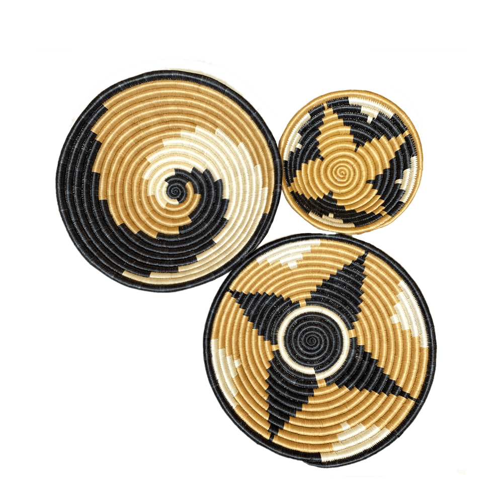 Woven Round Sisal Wall Art Basket Decor Set of 3 - SB001