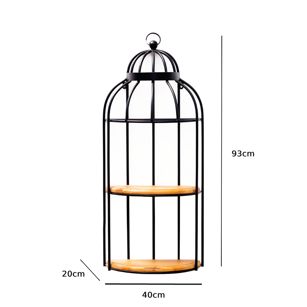 Rustic Industrial Wrought Iron Bird Cage Wall Display Shelves Black - 93cm - Propstation