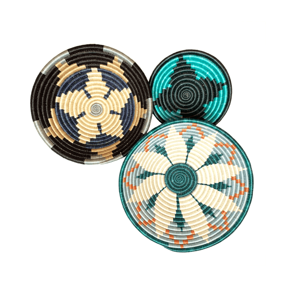 Woven Round Sisal Wall Art Basket Decor Set of 3 - SB004