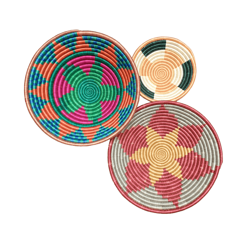 Woven Round Sisal Wall Art Basket Decor Set of 3 - SB005