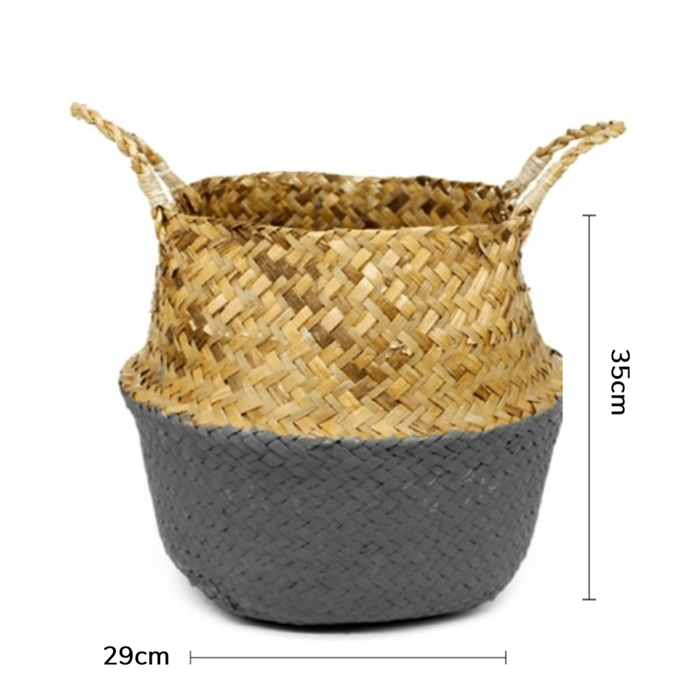 Natural Grey Seagrass Wicker Basket - Large - Propstation