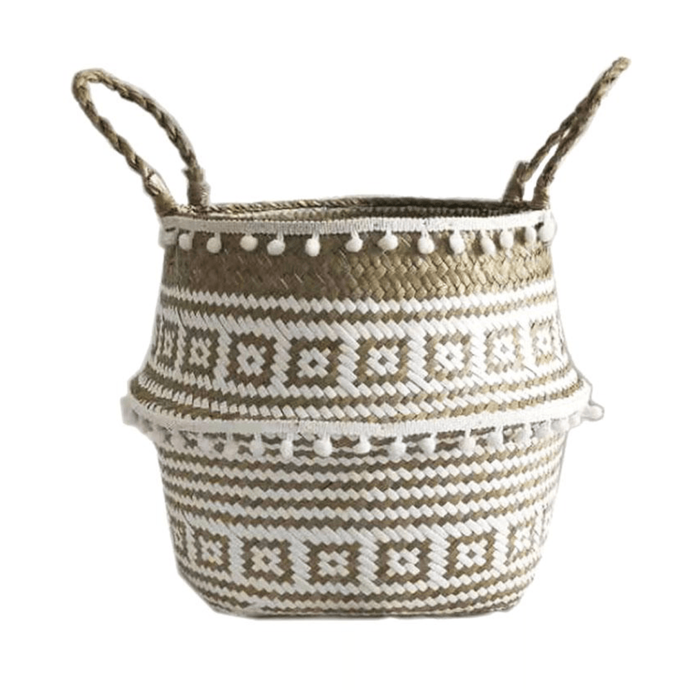 Natural and Plush with Ball Edge Wicker Basket - Large - Propstation