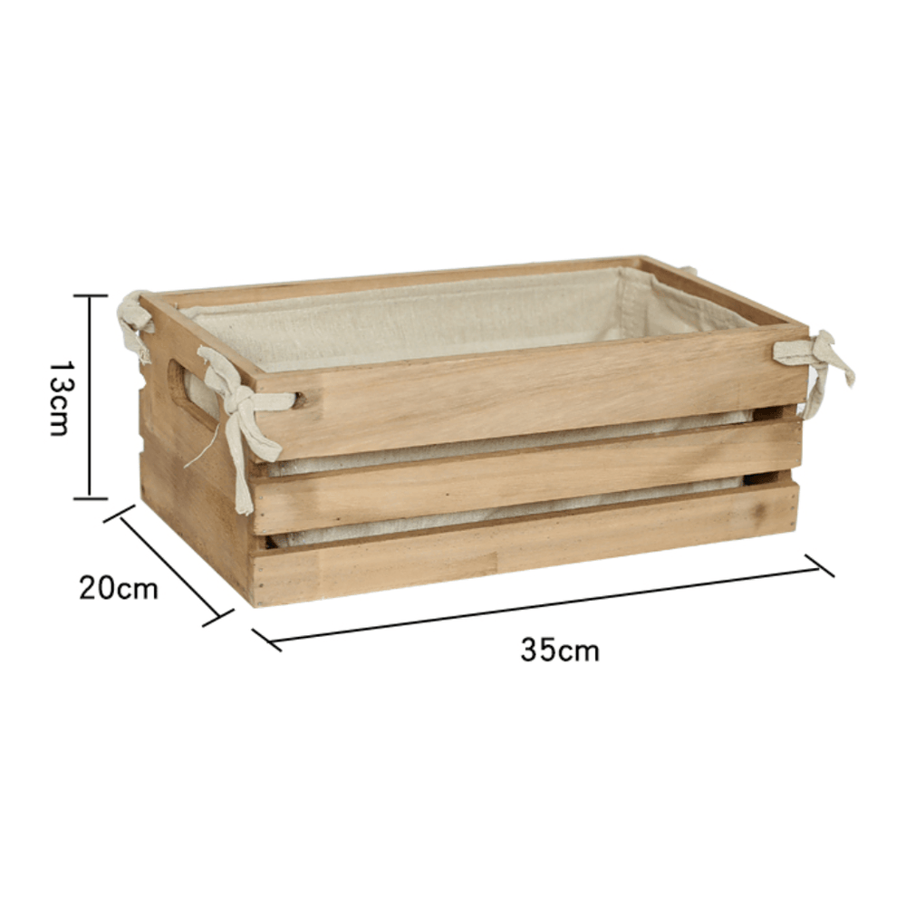 Natural Solid Wood Storage Crate with Fabric Insert - 35cm - Propstation