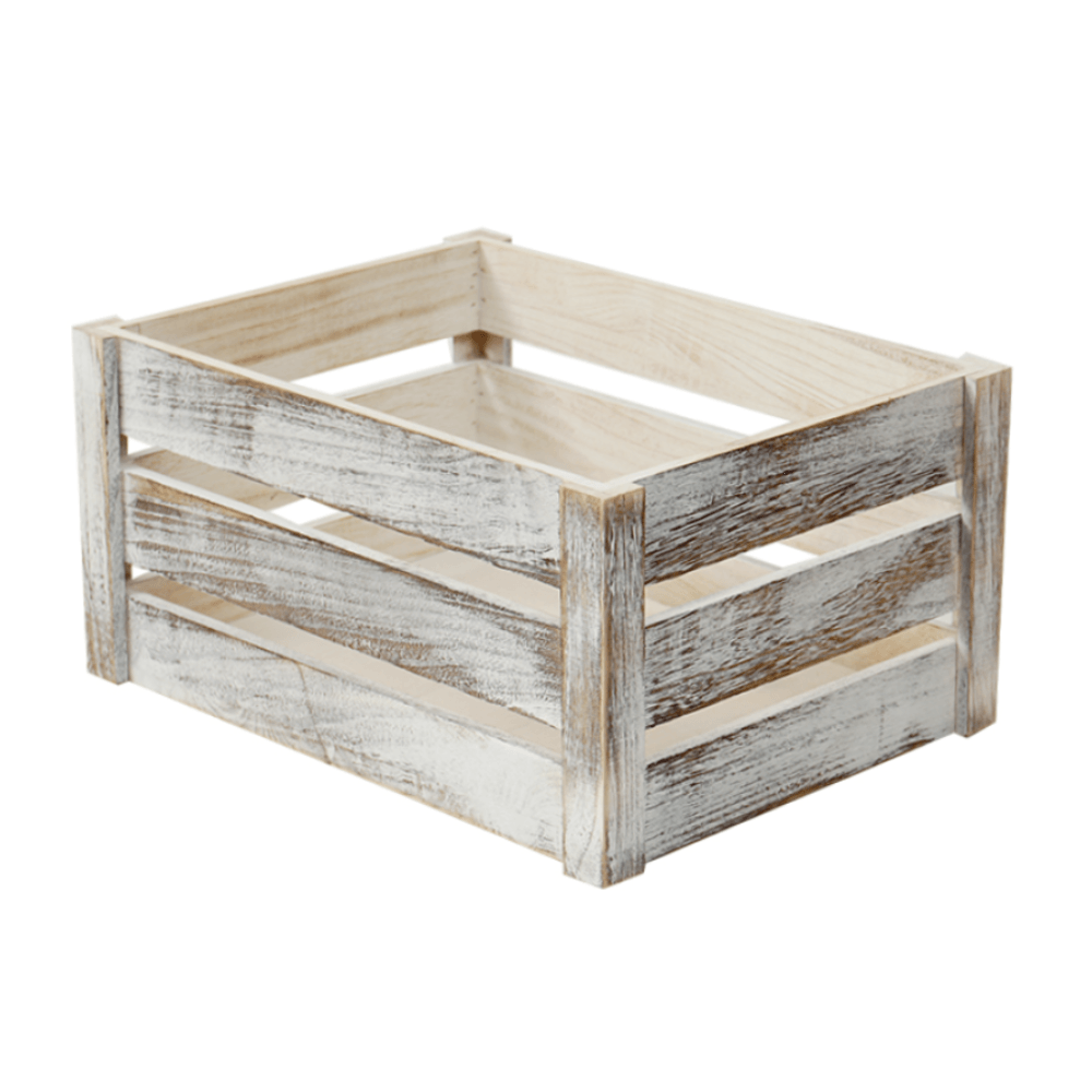 41cm Old White Solid Wood Crate - Propstation