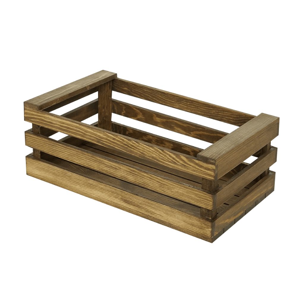 31.5cm Light Coffee Stackable Wooden Crate - Propstation