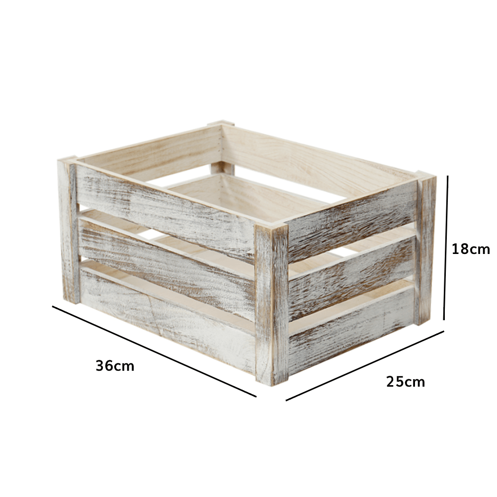 Rustic Solid Wooden Crate Old White 36cm - Propstation