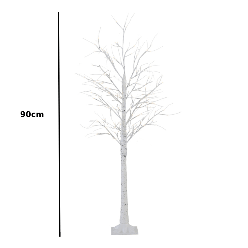 LED Birch Tree Decorative Light Stand White 90cm - Propstation