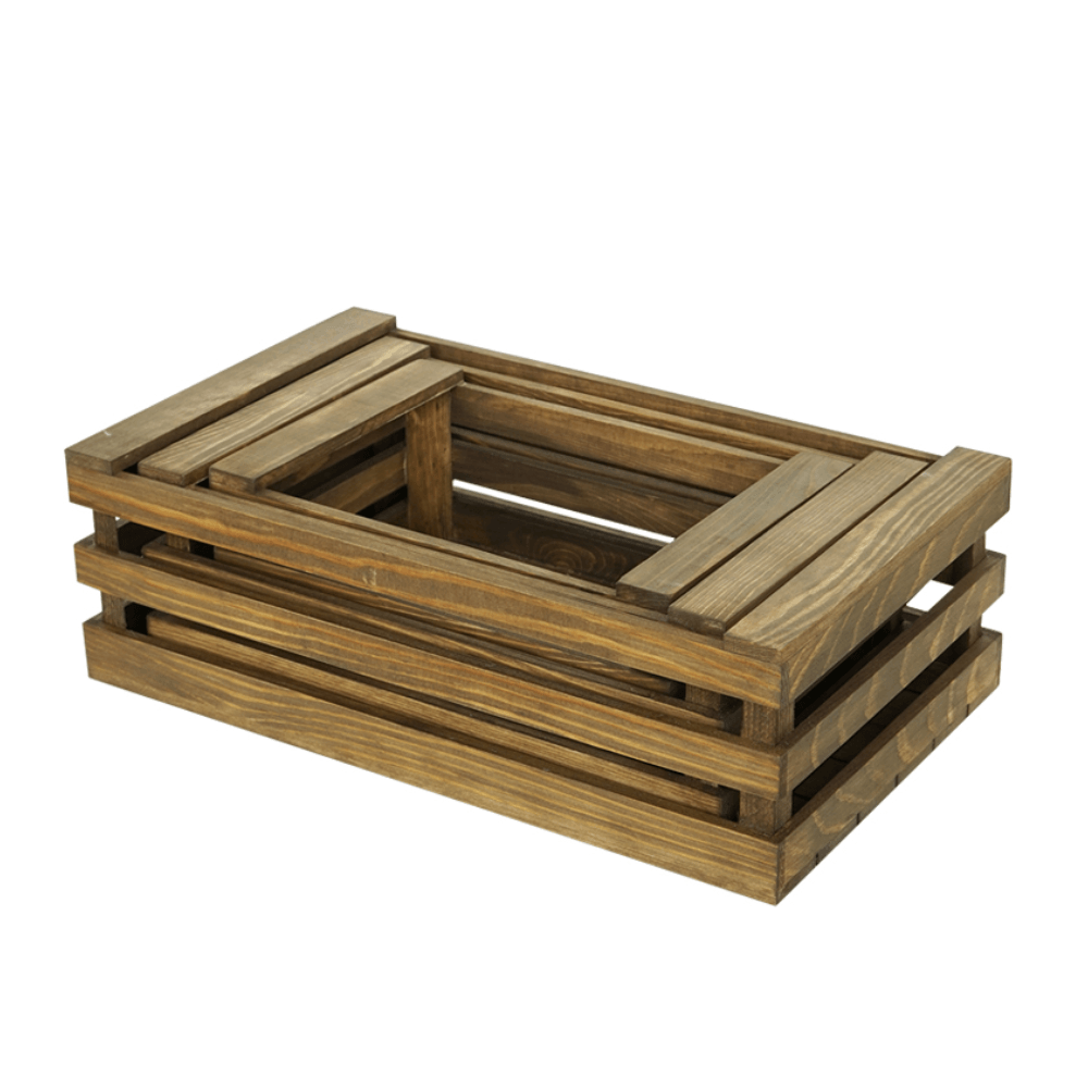 Rustic Farmhouse Stackable Wooden Crate Light Coffee - Set of 3 - Propstation