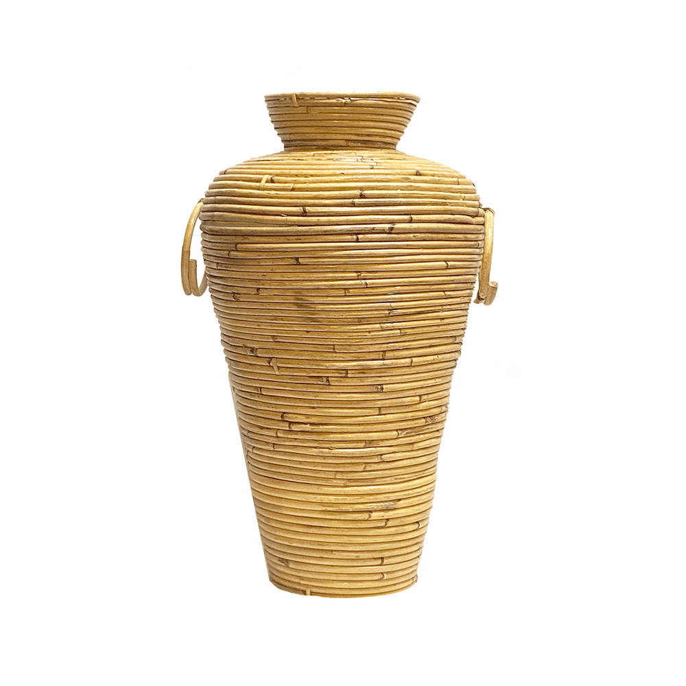 Natural Rattan Cane Decorative Stamnos Vase - 50cm