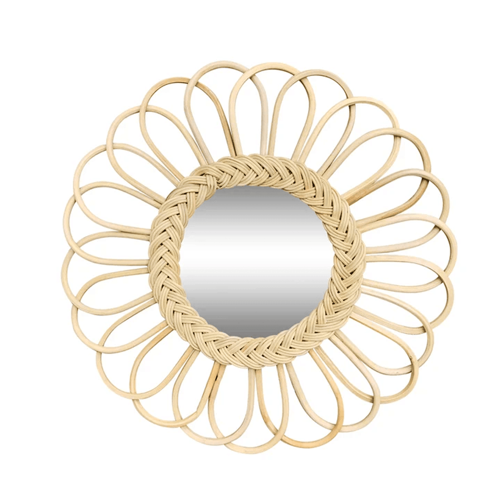 Rattan Braided Loop Round Wall Accent Mirror