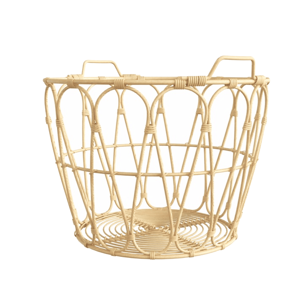 Braided Wicker Rattan Decorative Storage Basket with Handle