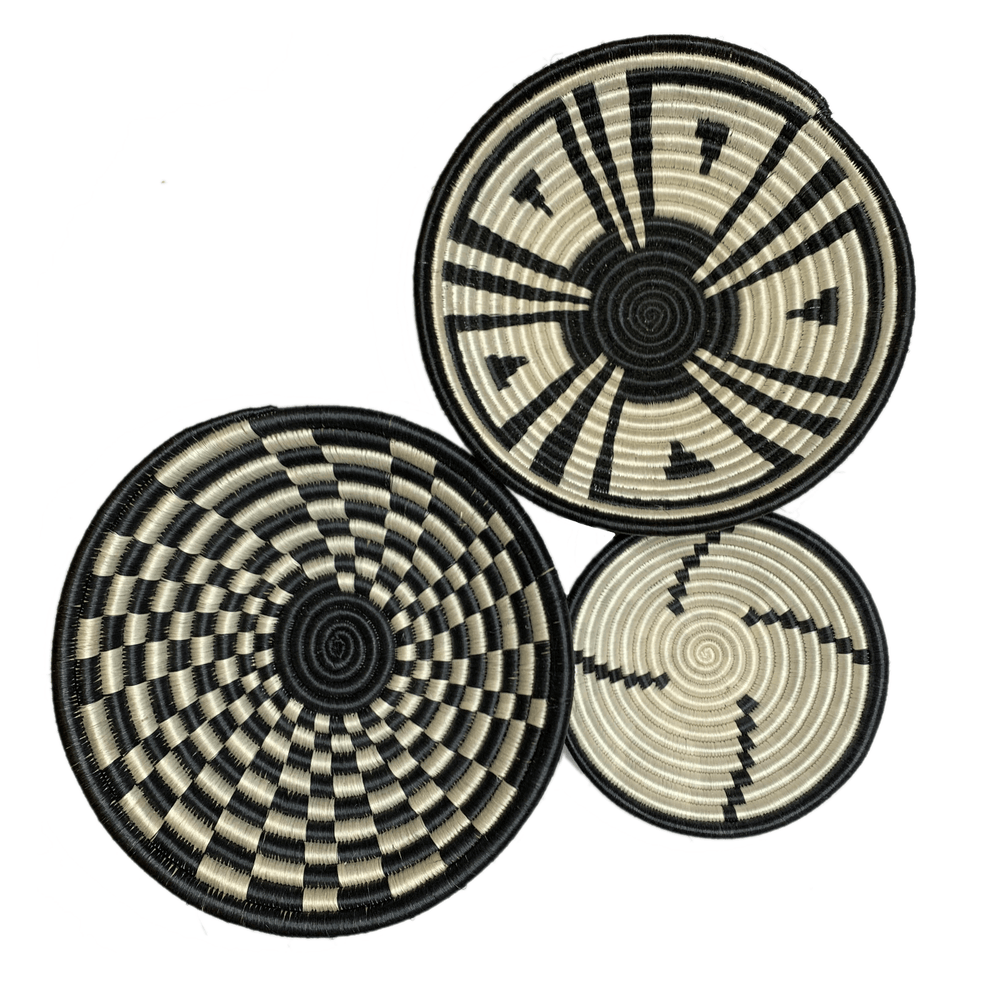 Woven Round Sisal Wall Art Basket Decor Set of 3 - SB009