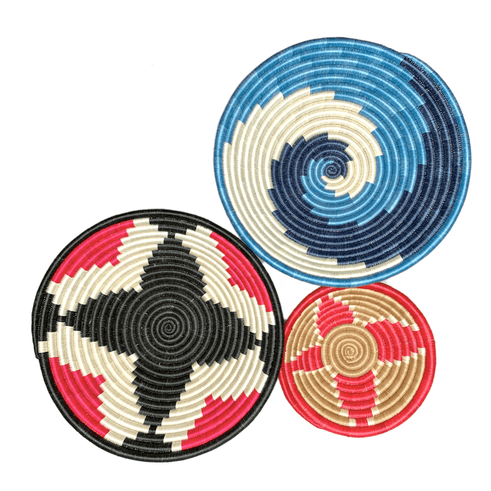 Woven Round Sisal Wall Art Basket Decor Set of 3 - SB012