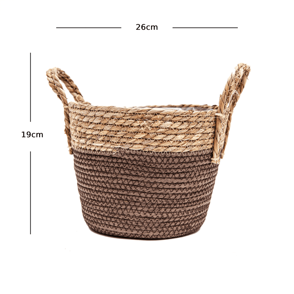 Braided Natural Hand-Woven Seagrass Wicker Basket with Handle Brown - 26cm