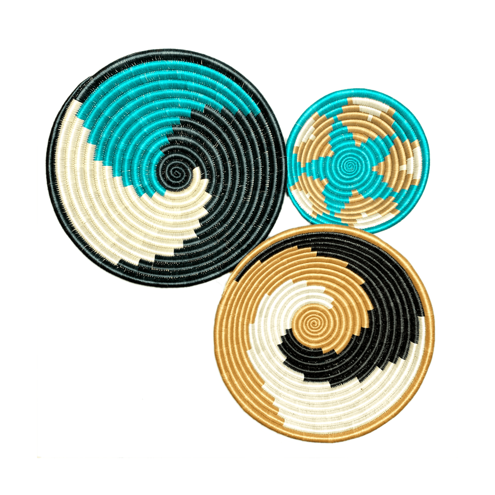 Woven Round Sisal Wall Art Basket Decor Set of 3 - SB018