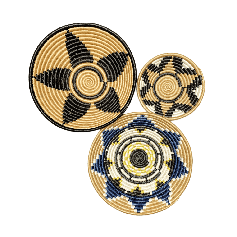 Woven Round Sisal Wall Art Basket Decor Set of 3 - SB016