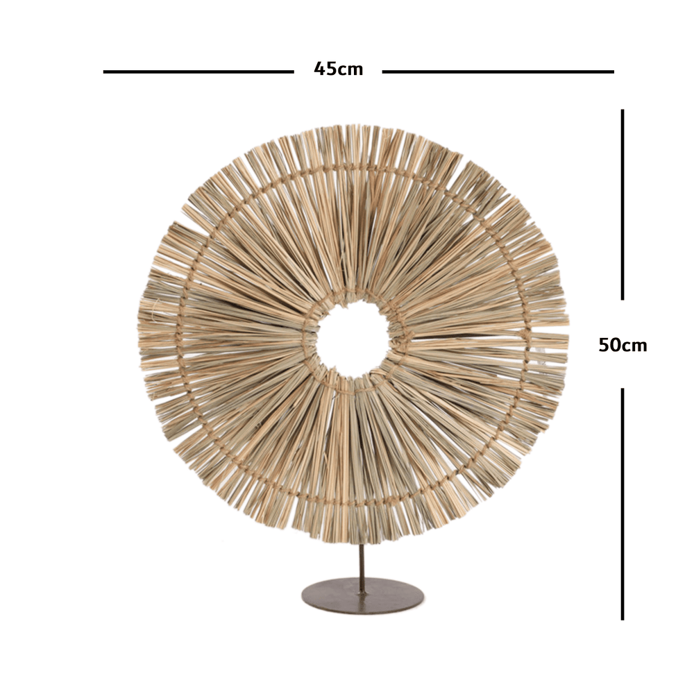 Round Brown Raffia Straw Grass Table Decor - 50cm