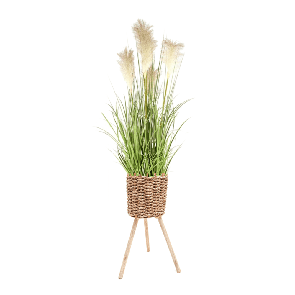 Potted Faux White Pampas Green Grass Plant Tree 145cm