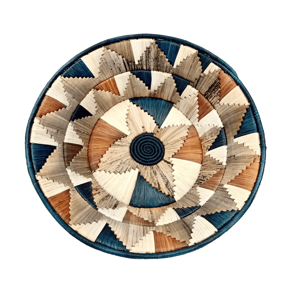 Woven Banana Bark Round Wall Art Basket Decor Jumbo Green - BB02