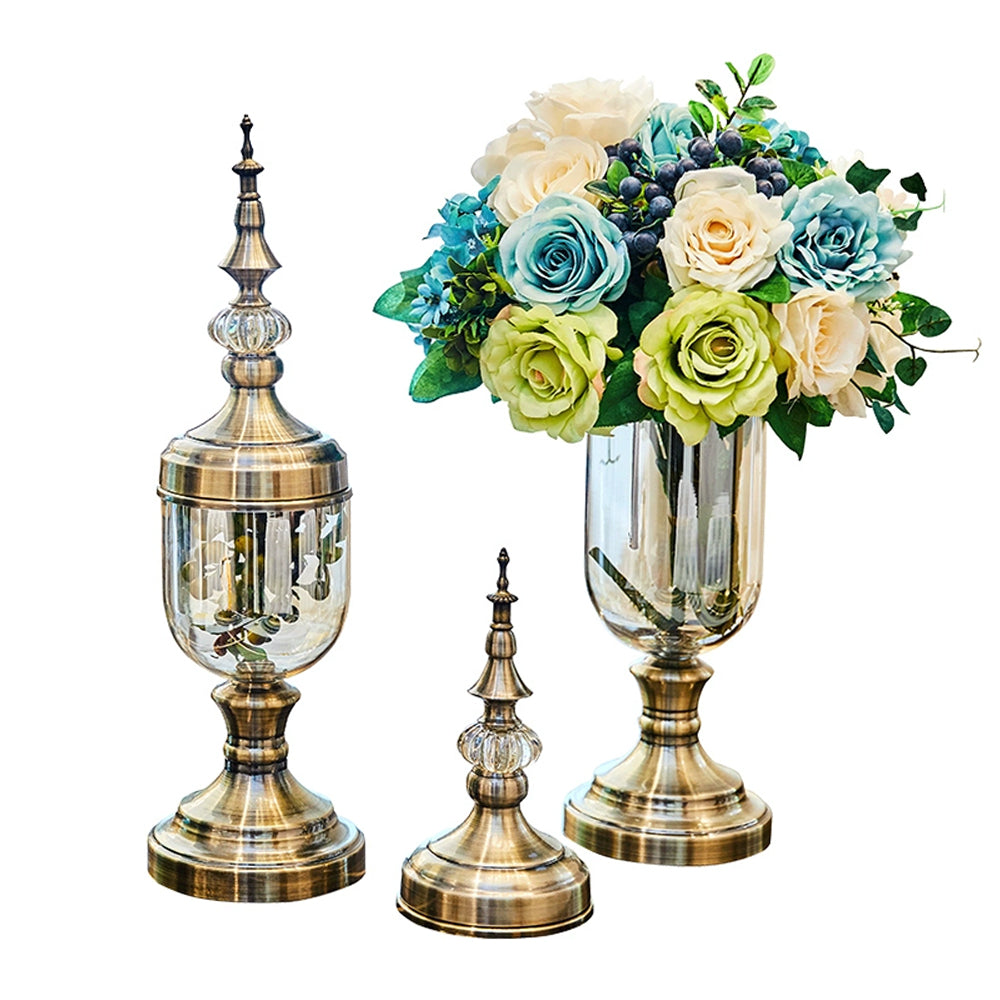 Nostalgic Copper Crystal Glass with Floral Arrangement Vase Set - Propstation