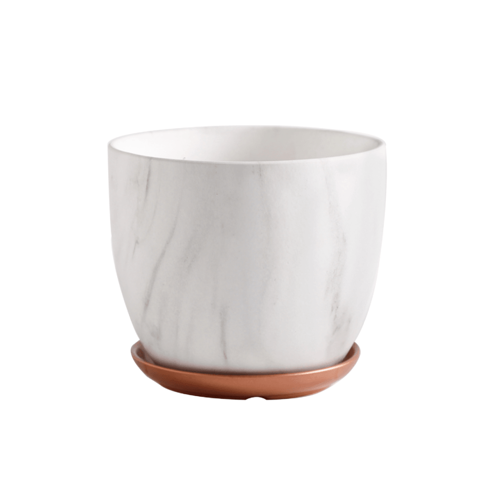 Ceramic Marble Pot Planter with Tray Rose Gold - 21cm - Propstation
