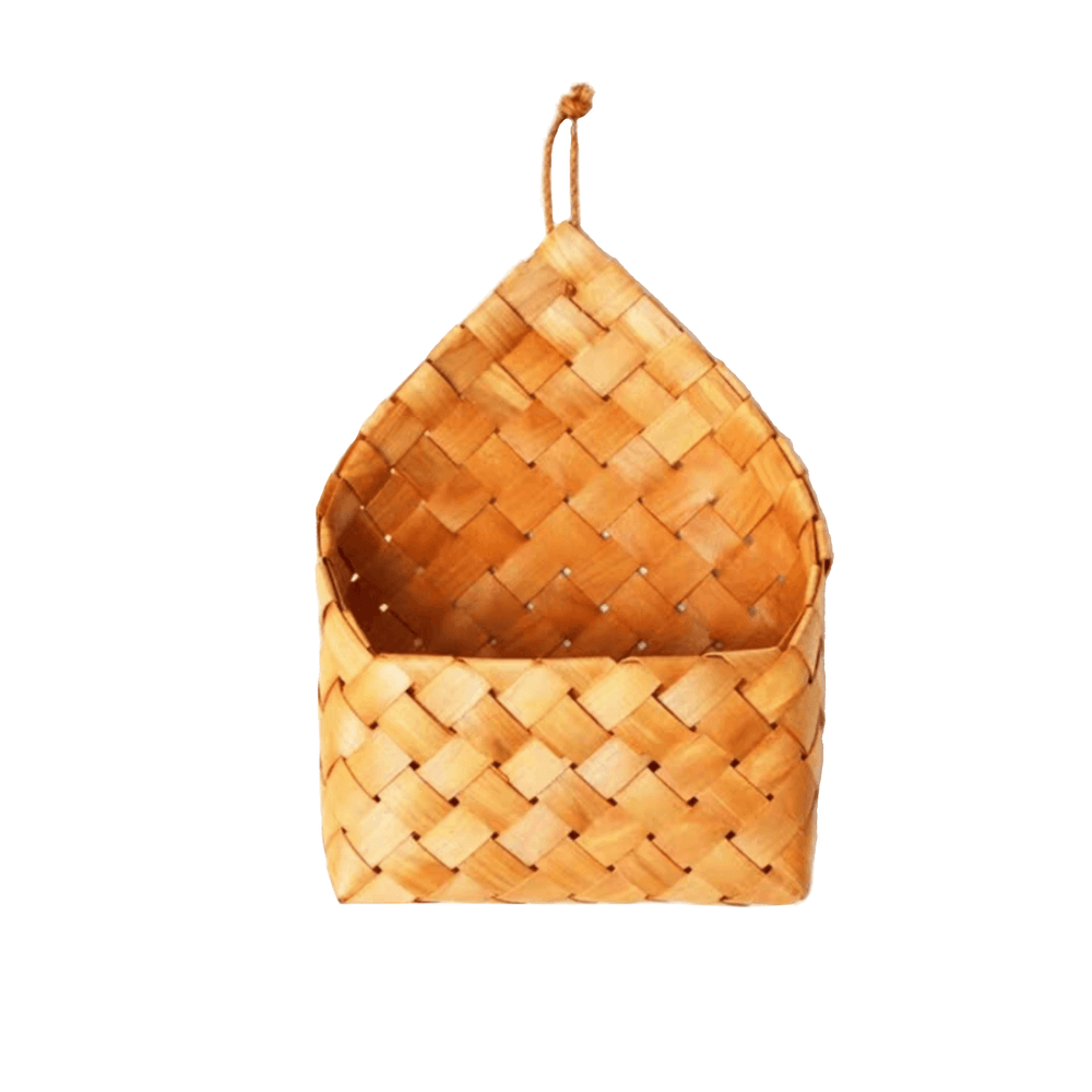 Natural Chip Wood Basket with Wall Hanging Hook - Propstation
