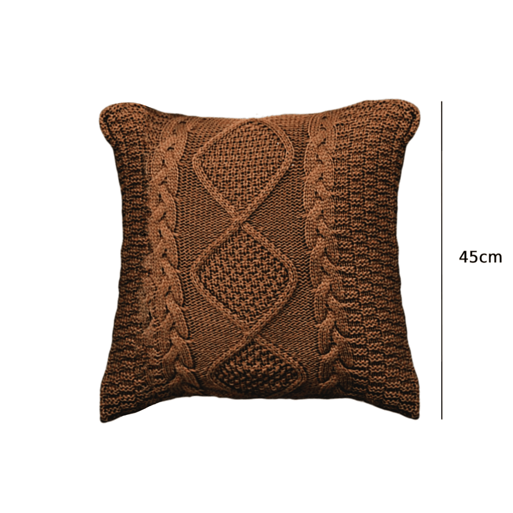 Knitted Cotton Twist Throw Pillow Cushion Cover Brown - Propstation