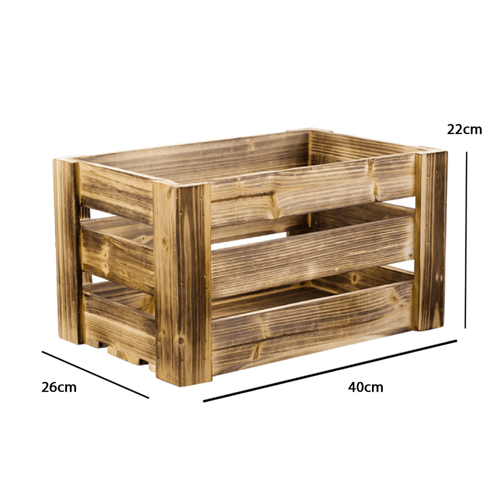 40cm Rustic Brown Solid Wood Crate - Propstation