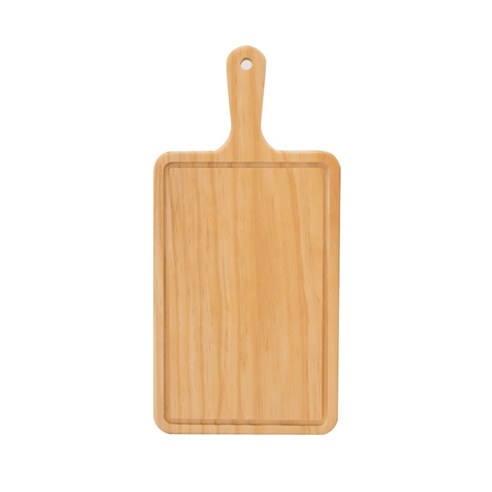 Curved Wood Rectangular Cutting and Serving Board with Handle 38cm